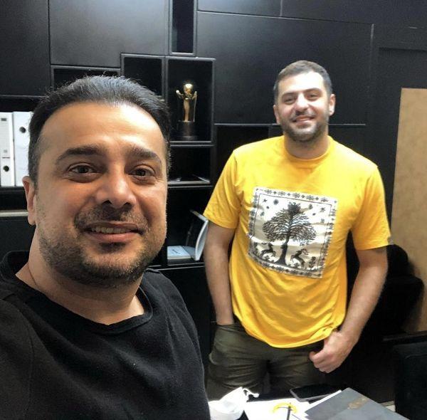 سلفی سپند امیرسلیمانی و علی ضیا در محل کار + عکس