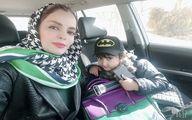 سلفی خانم بازیگر با پسرش در ماشین + عکس