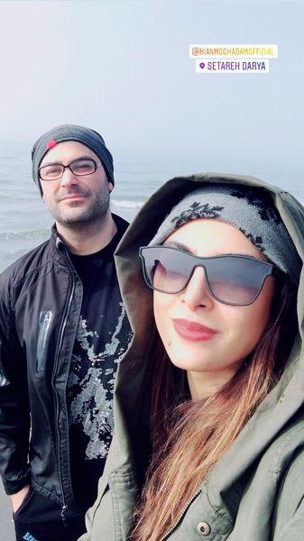 حدیثه تهرانی و همسر آهنگسازش در کنار دریا + عکس