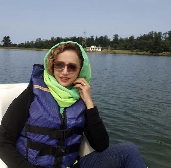 قایق سواری شبنم قلی خانی در رامسر + عکس