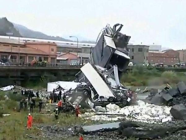 ریزش پل اتوبان هوایی در ایتالیا