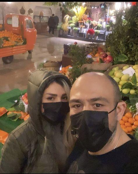 مهران غفوریان و همسرش در میدان میوه و تربار + عکس