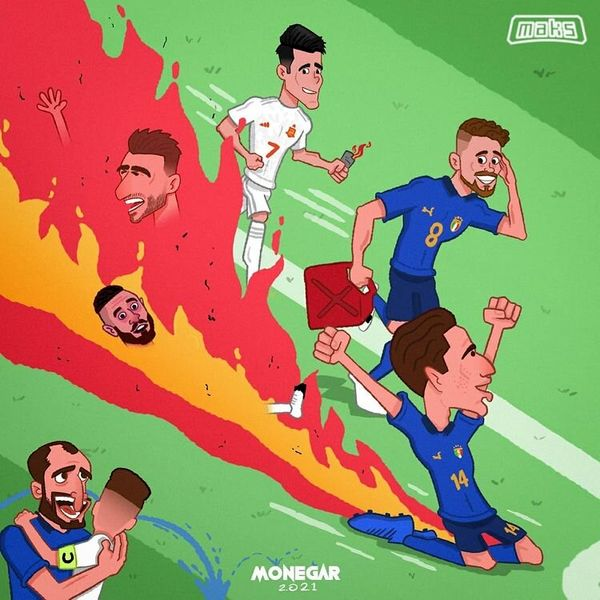ایتالیاییها چطور اسپانیا را آتش زدند!/ کاریکاتور