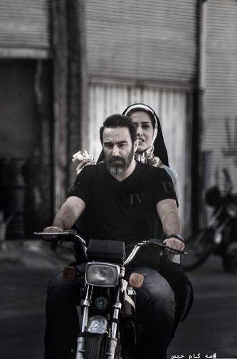 خانم بازیگر پشت موتور محسن تنابنده+عکس
