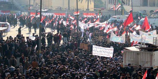 خیل عظیم تظاهرات کنندگان بغداد، امت مقاومت هستند