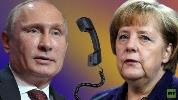 """پوتین در گفتوگو با مرکل: """"تجاوز"""" متحدان آمریکا به سوریه قوانین بینالمللی را نقض کرد"""