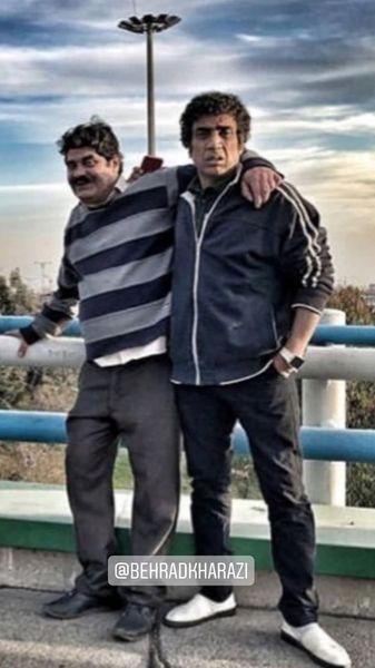 ظاهر متفاوت نصرالله رادش و دوستش + عکس