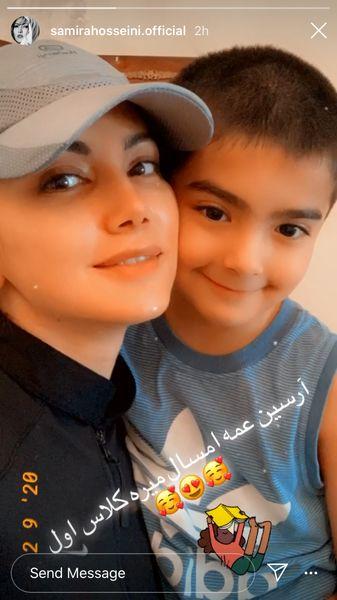 سلفی سمیرا حسینی و برادرزاده کلاس اولیش + عکس