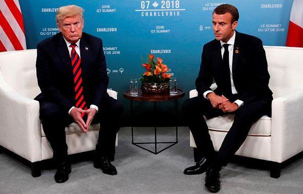 رد انگشت شست ماکرون روی دست ترامپ (عکس) / ماکرون: هدفدار بود