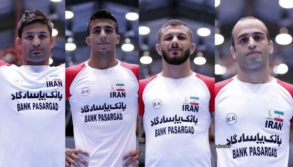نادری خادم،حاجی پور،گرایی و عبدولی حریفان خود را کشتی فرنگی قهرمانی جهان شناختند