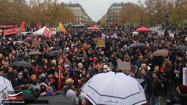 تظاهرات مردم پاریس بر علیه سفر ترامپ به فرانسه+عکس