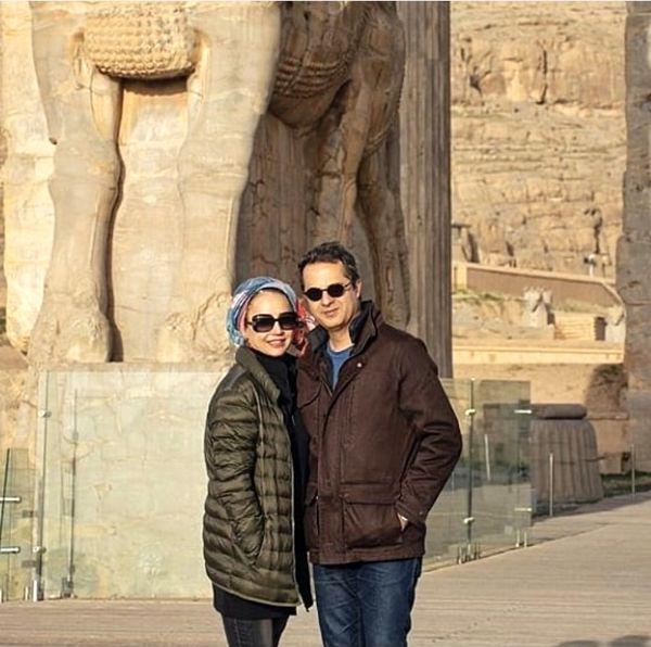 شبنم قلی خانی و همسرش در تخت جمشید + عکس