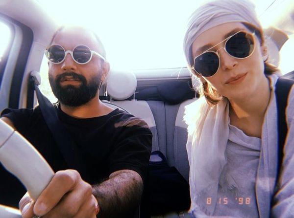 فرشته حسینی و صابر ابر در ماشین + عکس
