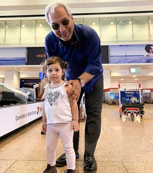 مهران مدیری و هوادار کوچولوش در فرودگاه دبی + عکس