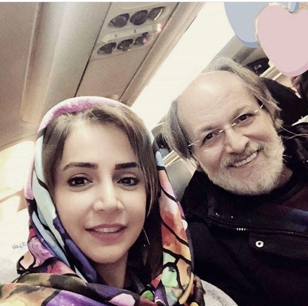 شبنم قلی خانی با بازیگر مشهور در هواپیما + عکس