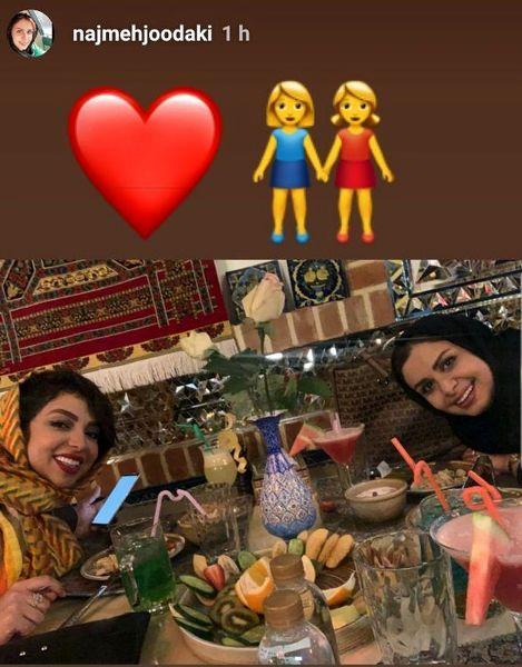 نجمه جودکی و دوستش با ضیافت شاهانه+عکس