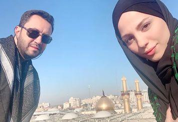 خانم مجری و همسرش در کربلا+عکس