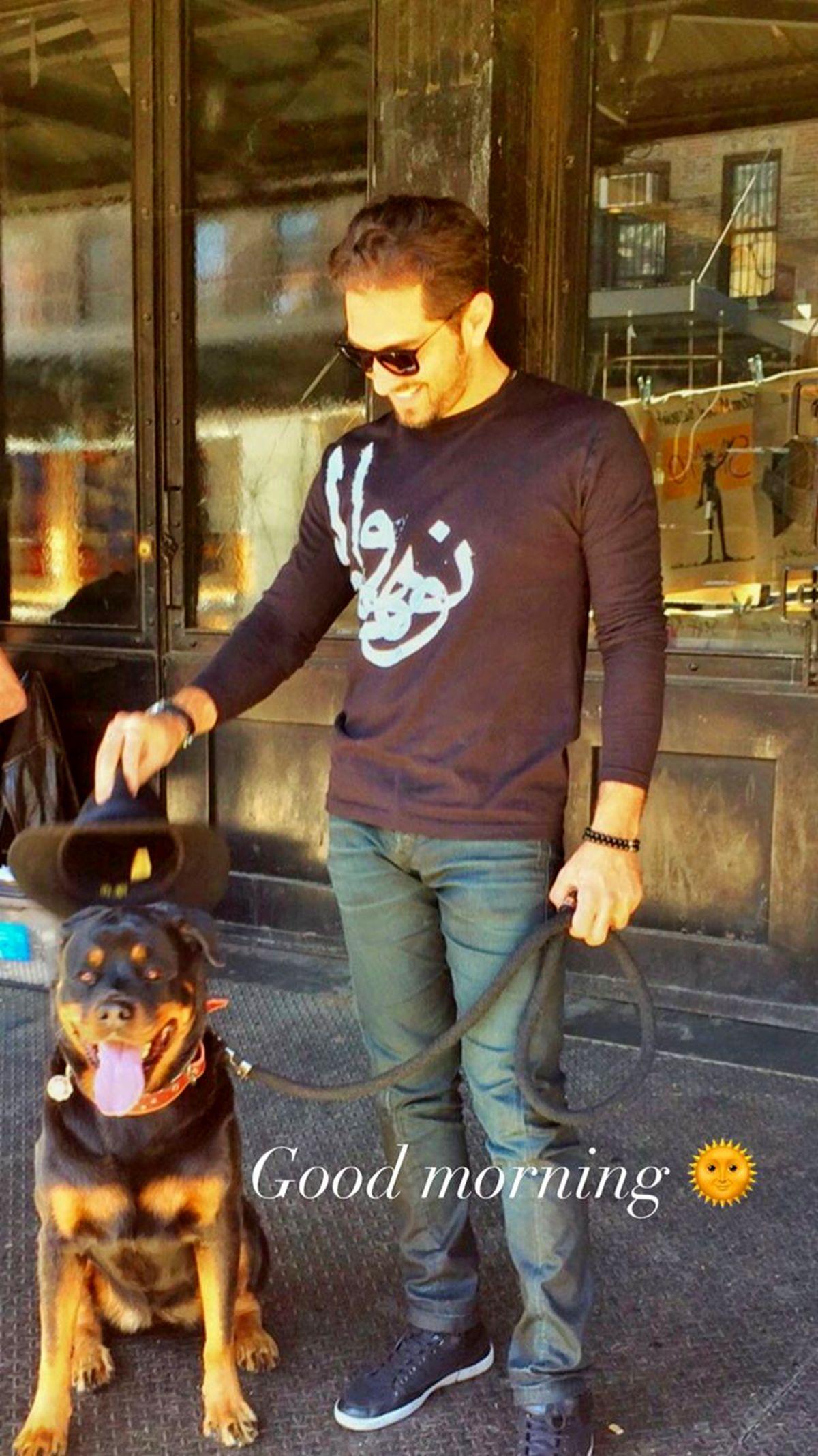 بهرام رادان و سگش در خیابان + عکس