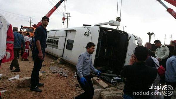 دستگیری راننده اتوبوس واژگون شده مرودشت ! + عکس و جزییات