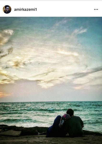 عاشقانه های امیر کاظمی و همسرش لب دریا + عکس