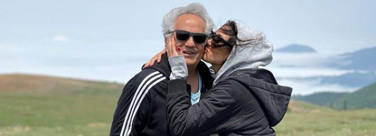 بوسه عاشقانه نیکی مظفری بر صورت پدرش + عکس