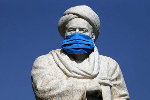 ماسک بر چهره مجسمه ابوعلی سینا در همدان!