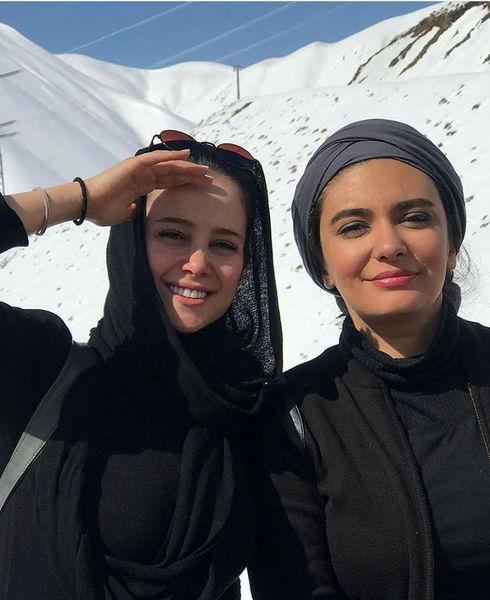 لیندا کیانی و الناز حبیبی در برف + عکس