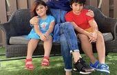 شیلا خداداد و فرزندانش در حیاط ویلا + عکس