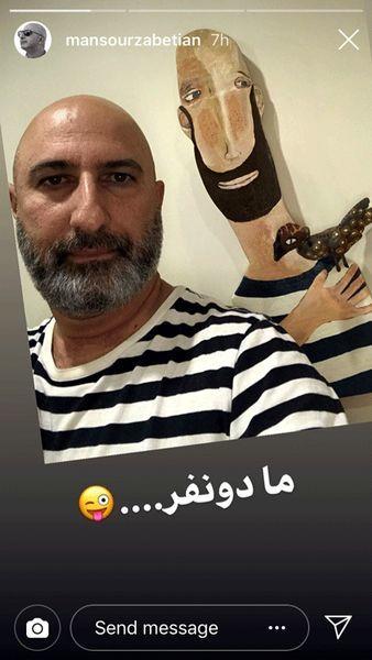 عکس دو نفره آقای مجری با خودش