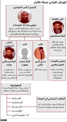 ساختار حکمرانی سازمان طالبان   منبع: BBC عربی