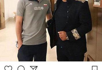 امید جهان در کنار آقای معروف
