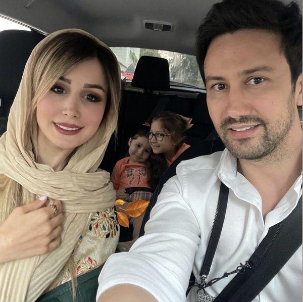سلفی خانوادگی شاهرخ استخری در ماشین + عکس