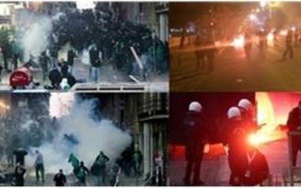 دربی یونان به خاطر اغتشاش هواداران لغو شد + عکس