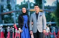 مانتو متفاوت و جالب شیلا خداداد در همراهی با همسرش+عکس