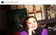 تیپ بنفش حدیثه تهرانی در کلاس نقاشی+عکس