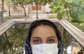 شبنم مقدمی در حیاط خانه اش + عکس