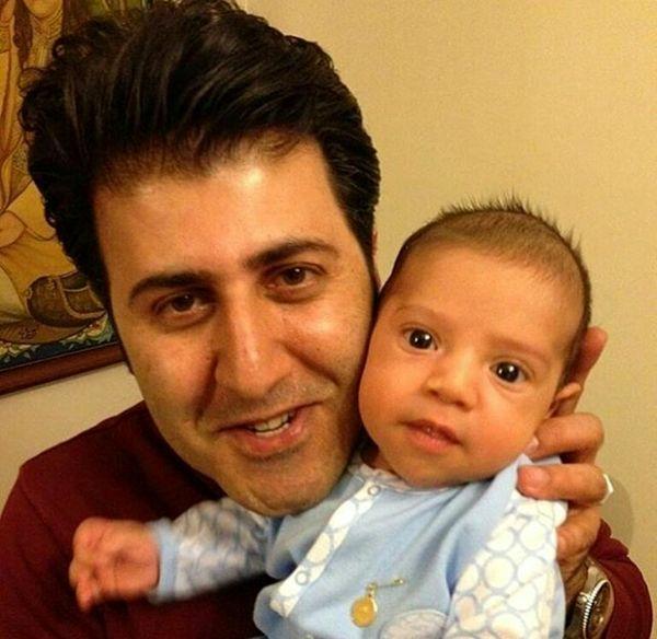 عکس بامزه از شباهت هومن حاجی عبدالهی و پسر نوزادش