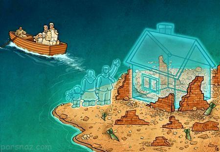 کاریکاتور بحران تمام نشدنی پناهندگان و مهاجرت به اروپا