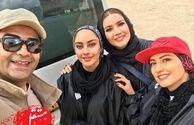 فرزاد حسنی در کنار بازیگران زن رالی سوار+عکس