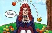 کاریکاتور نیوتن با موبایلش