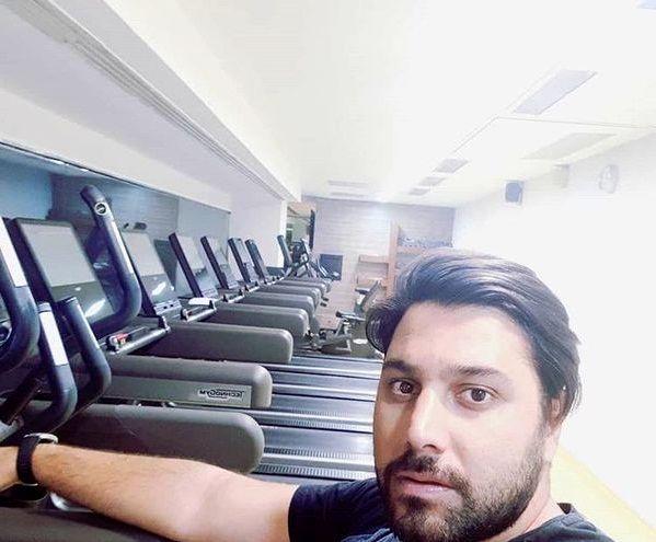 ورزش کردن احسان خواجه امیری در باشگاه + عکس