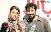 سلفی سیاه سفید طور همسر شهاب حسینی با همکارانش