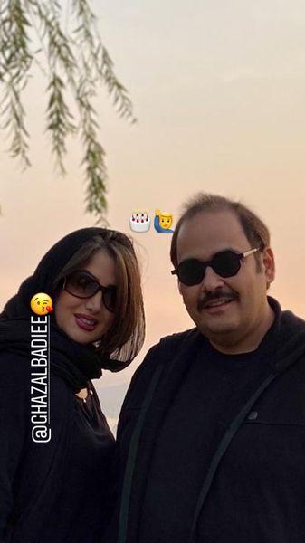 خواهر مرحوم عسل بدیعی در کنار همسر مشهورش + عکس
