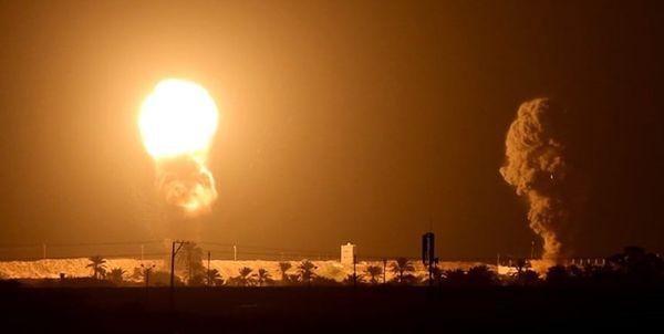 بمباران چند منطقه نوار غزه توسط رژیم صهیونیستی
