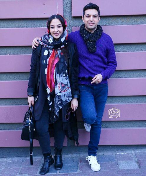 تیپ ساده اشکان خطیبی و همسرش+عکس