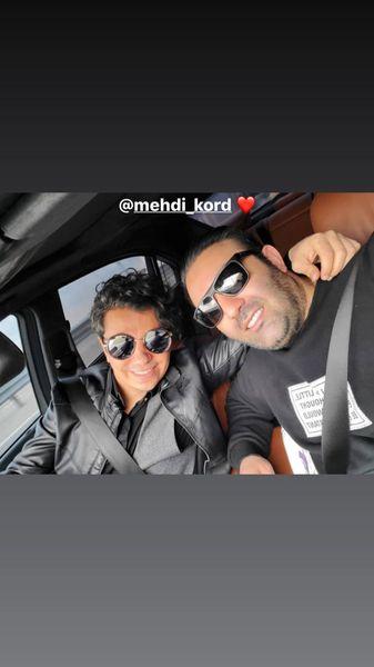 سلفی محسن ابراهیم زاده و دوستش در ماشین + عکس