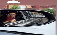 ماشین سواری روشنک عجمیان در روز بارانی+عکس
