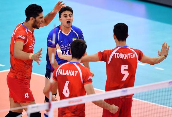 پیروزی تیم ایران در جام کنفدراسیون والیبال آسیا مقابل استرالیا