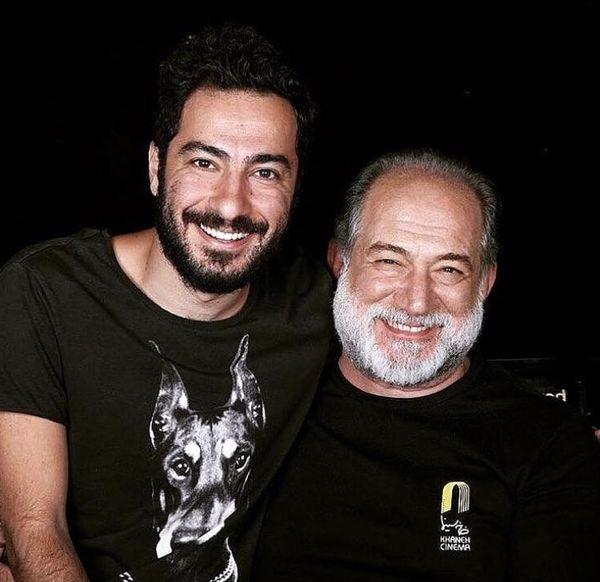 نوید محمدزاده در کنار پیشکسوت سینما ایران + عکس