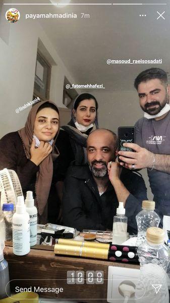 پیام احمدی نیا و لیندا کیانی در اتاق گریم کار جدیدشان + عکس